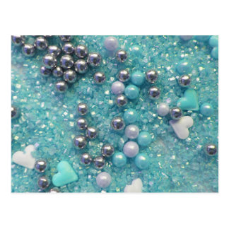 Light Blue Sparkles and Love Hearts Postcard