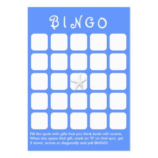 Light Blue Star Fish 5x5 Bridal Shower Bingo Card Pack Of Chubby Business Cards
