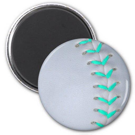Light Blue Stitches Baseball / Softball Magnets
