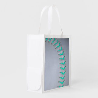 Light Blue Stitches Baseball / Softball Reusable Grocery Bag