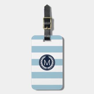 Light Blue Stripe with Navy Laurel Wreath Monogram Bag Tag
