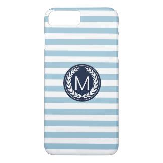 Light Blue Stripe with Navy Laurel Wreath Monogram iPhone 7 Plus Case