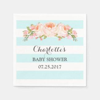 Light Blue Stripes Floral Baby Shower Disposable Napkins
