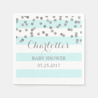 Light Blue Stripes Silver Confetti Baby Shower Paper Napkin