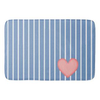 Light Blue Stripes w/Pink Heart Bath Mat