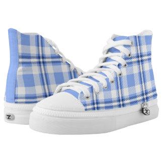 Light Blue Tartan Plaid Pattern Printed Shoes