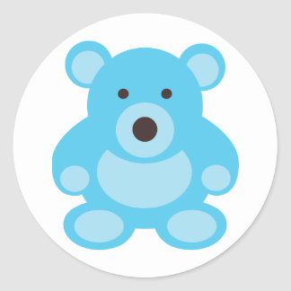 Light Blue Teddy Bear Round Sticker