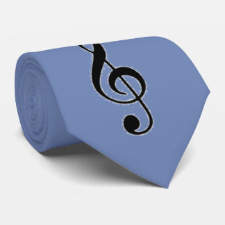 Light Blue Tie, Decorated with Black Musical Clefs Tie