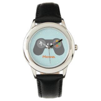 Light Blue Video Game Controller Wrist Watches