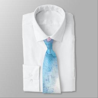 Light Blue Watercolor Beach Ocean Wedding Tie