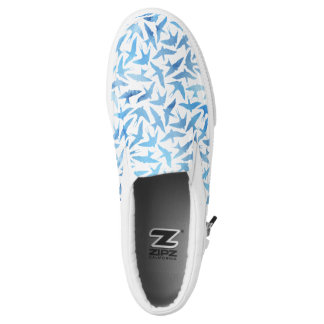 Light Blue Watercolor Birds Pattern Printed Shoes