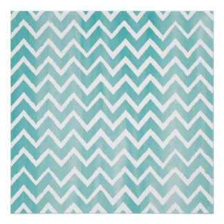 Light Blue Watercolor Chevron Pattern Poster