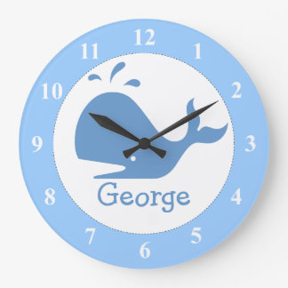 Light blue whale clock with custom baby name