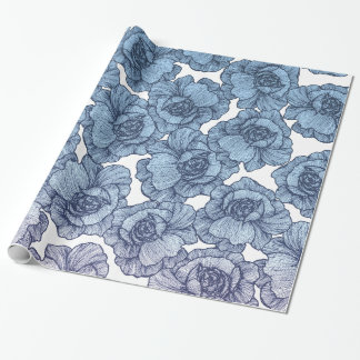 Light Blue White and Black Modern Line Art Flowers Wrapping Paper