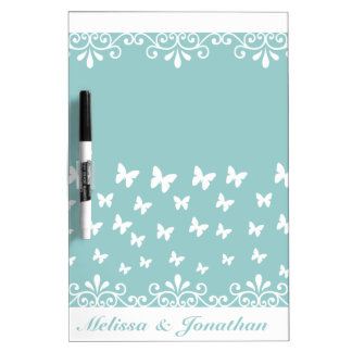 Light blue White butterflies Wedding Dry Erase Board