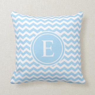 Light Blue White Chevron Monogram Throw Pillow