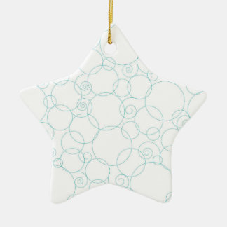 Light Blue, White, Circles, Swirls Ceramic Star Decoration