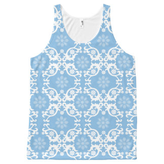 Light Blue White Lace Flower All-Over Print Tank Top