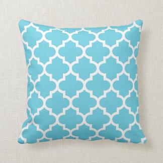 Light Blue & White Quatrefoil Pattern Pillow