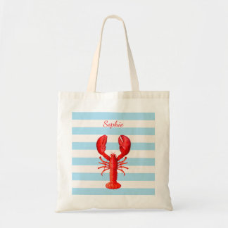 Light blue white stripes with a red lobster name tote bag