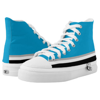 Light Blue with Black White and Silver Trim Hi-Top Printed Shoes