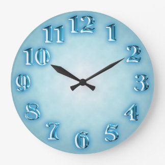 Light blue with fancy metallic numbers large clock