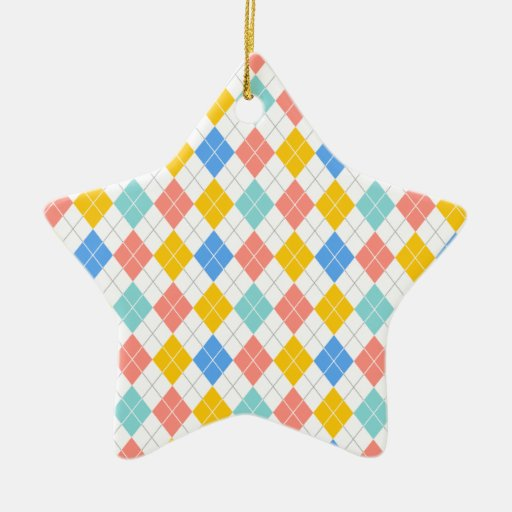 Light Blue, Yellow Orange, Coral Pink Argyle Christmas Ornaments