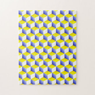 Light Blue Yellow White Shaded 3D Look Cubes Puzzles