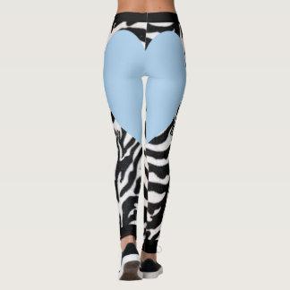 Light Blue Zebra Heart Leggings