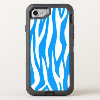 Light Blue Zebra Print OtterBox Defender iPhone 7 Case