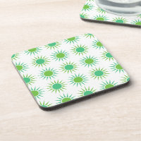 Light Bright Green Sunburst Sun Silhouette Pattern