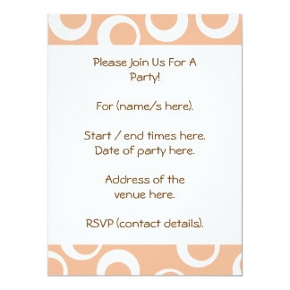 Light Brown and White Circles Pattern. Custom Invitations
