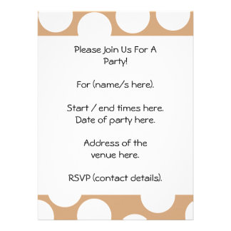 Light Brown and White Spot Pattern Personalized Invites