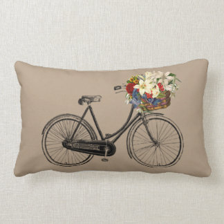 Light brown bicycle flower   Throw pillow