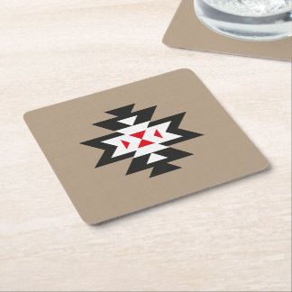 Light Brown Black White Red Navajo Aztec Pattern Square Paper Coaster