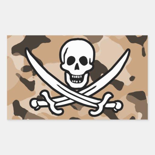 Light Brown Camo; Jolly Roger Pirate Rectangular Sticker