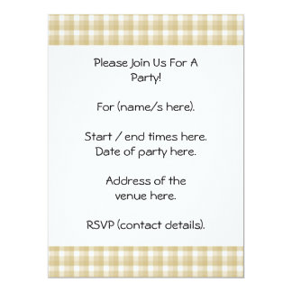 Light brown check pattern. Beige gingham. 17 Cm X 22 Cm Invitation Card