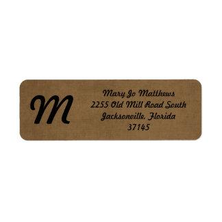 Light brown leather texture return address label