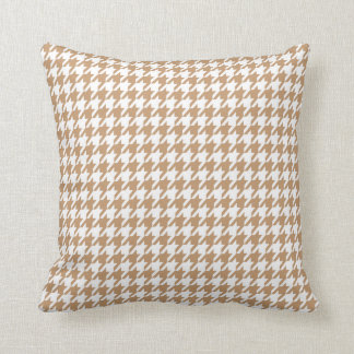 Light Brown, Tan Houndstooth Throw Pillow