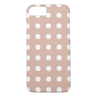 Light Brown White Chic Polka Dot iPhone 7 Case