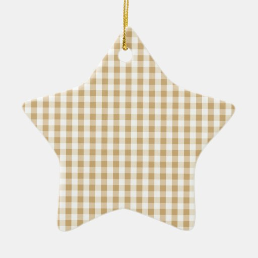 Light Brown & White Gingham Pattern Christmas Ornaments