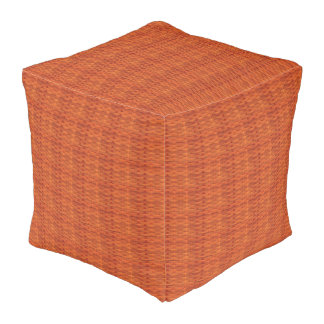 Light Brown Wicker Look Cube Pouf