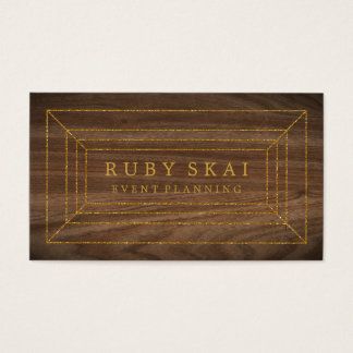 Light Brown Wood Gold Gemstone Chic Business Card