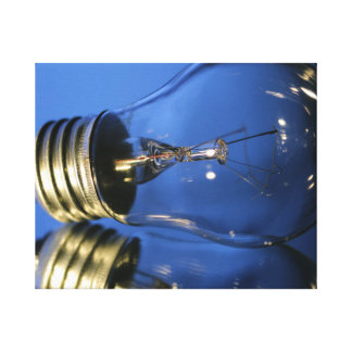 Light Bulb - Blue Gallery Wrapped Canvas