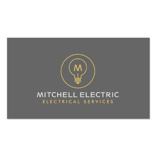 LIGHT BULB MONOGRAM LOGO for ELECTRICANS Pack Of Standard Business Cards