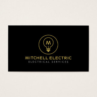 LIGHT BULB MONOGRAM LOGO on BLACK for ELECTRICANS
