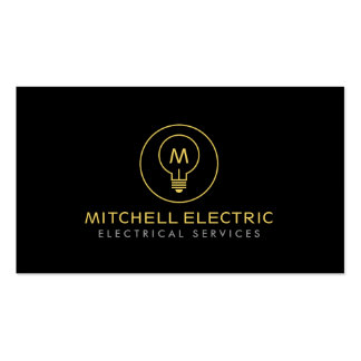 LIGHT BULB MONOGRAM LOGO on BLACK for ELECTRICANS Business Cards