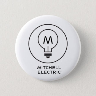 LIGHT BULB MONOGRAM LOGO on WHITE for ELECTRICANS 6 Cm Round Badge