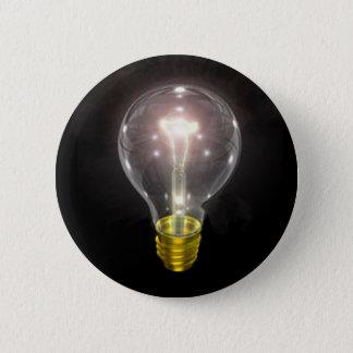 light bulb on blk 3 inch flare 6 cm round badge