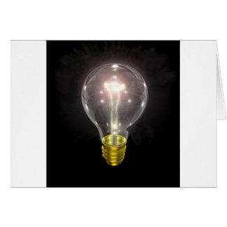light bulb on blk 3 inch flare card